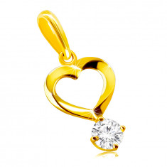 Pendant made of 9K gold – heart motif with curled lines, round clear zircon in a mount