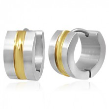 Steel earrings - bicoloured hoops with middle strip in gold colour