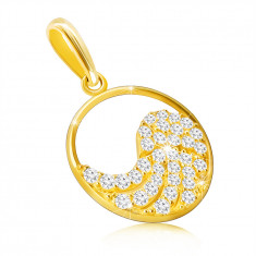 9K gold pendant - angel wing adorned with zircons in a thin ring