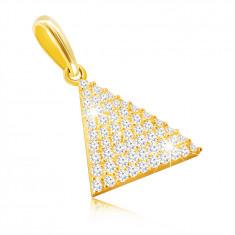 9K Golden pendant - isosceles triangle, tiny round zircons, oval clasp