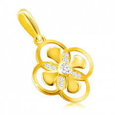 Pendant made of 9K gold – flower with combined petals, zircon in a bezel