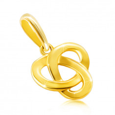 9K golden pendant – three-pointed Celtic knot with a flat shiny surface