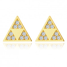 375 Golden earrings – shiny triangle with three smaller triangles in a cut-out, tiny zircons