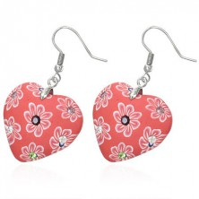 Fimo earrings - red hearts with zircons