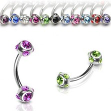Eyebrow piercing made of stainless steel – banana ring with ornate bezels, round zircons