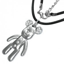 Fashion necklace with pendant - happy bear with zircons