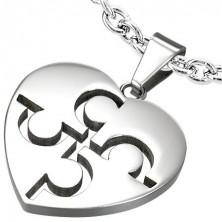 Puzzle jigsaw steel pendant - silver colour