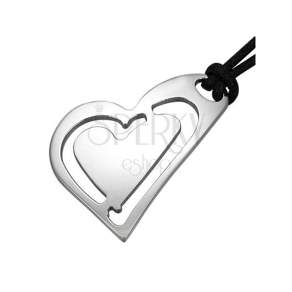 Steel pendant - slant hearts