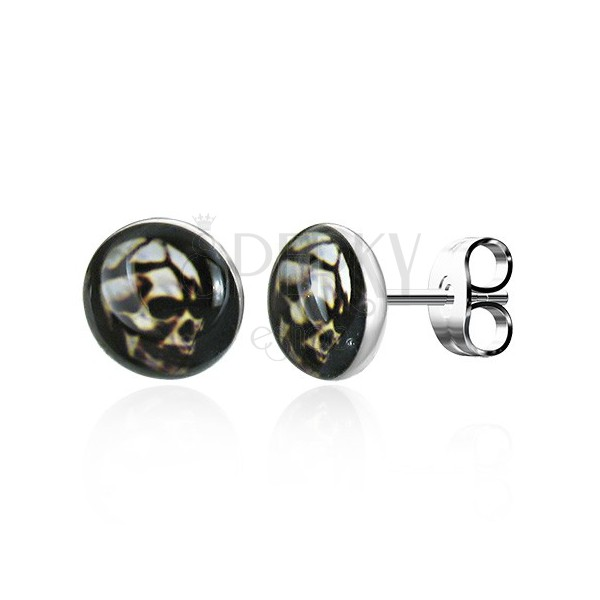 Round steel earrings - frightening skull, stud fastening