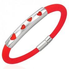 Rubber bracelet - four hearts, red
