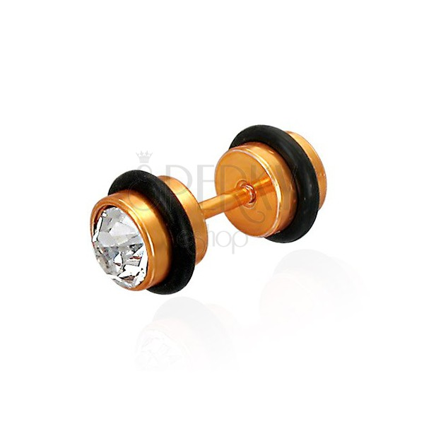 Golden colour fake piercing with zircon