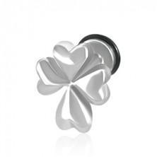 False ear piercing in a silver colour - Irish four-leaf clover