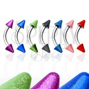 Eyebrow ring with two colourful spikes