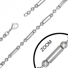 Stainless steel ball chain with cylinders - 4.4mm