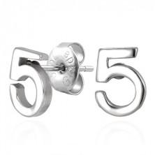 Steel stud earrings, magical Number 5
