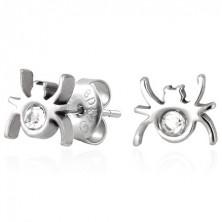 Stud steel earrings - spider with zircon