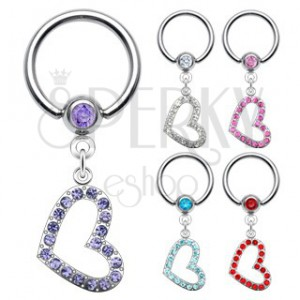 Body ring with heart-shaped zirconic pendant