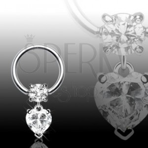 Body ring with heart and zircon