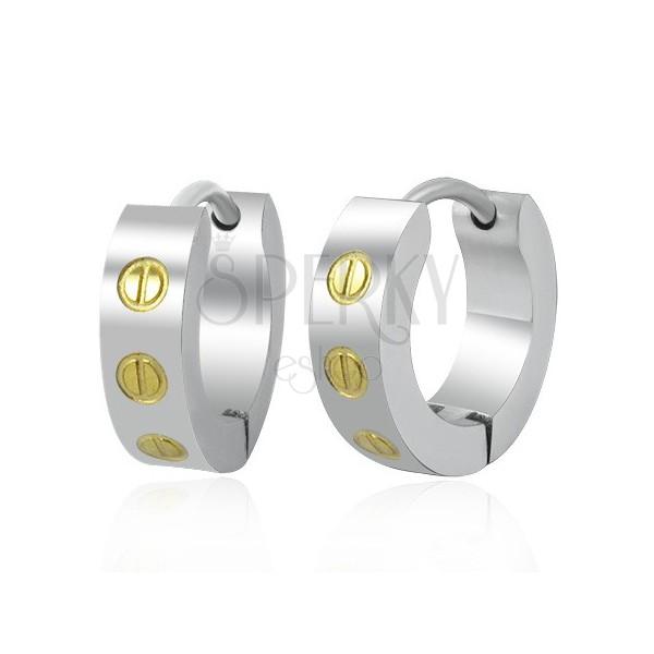 Stainless steel huggie earrings - screws