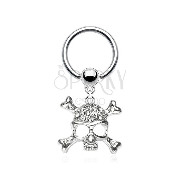316L steel piercing - circle and ball, skull and bones shaped into letter X