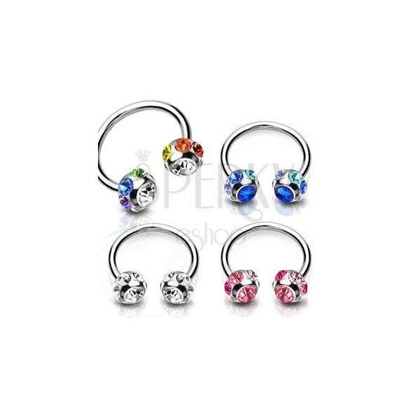 Steel piercing - horseshoe with glittery zircon within a ball and tiny zircons along its perimeter