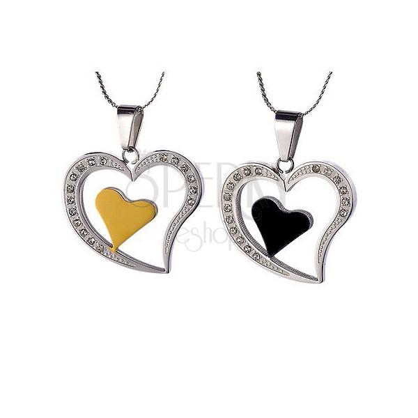 Set of steel pendants - hearts for lovers