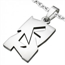 Oblong pendant made of surgical steel with asymmetric cutouts