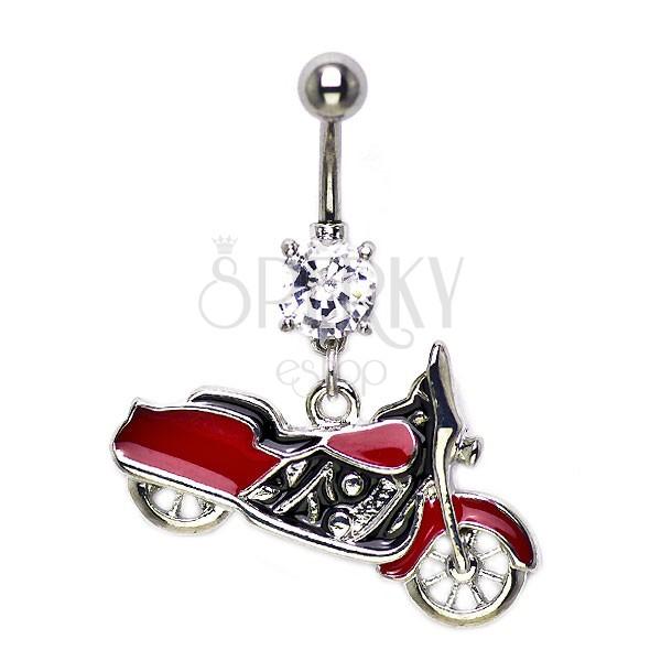 Belly ring - red Harley Davidson