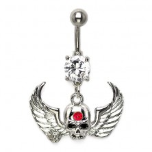 Belly button ring - winged skull