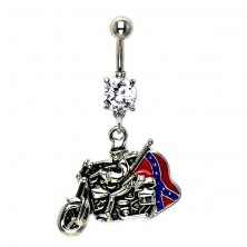 Biker belly button ring with zircon and flag