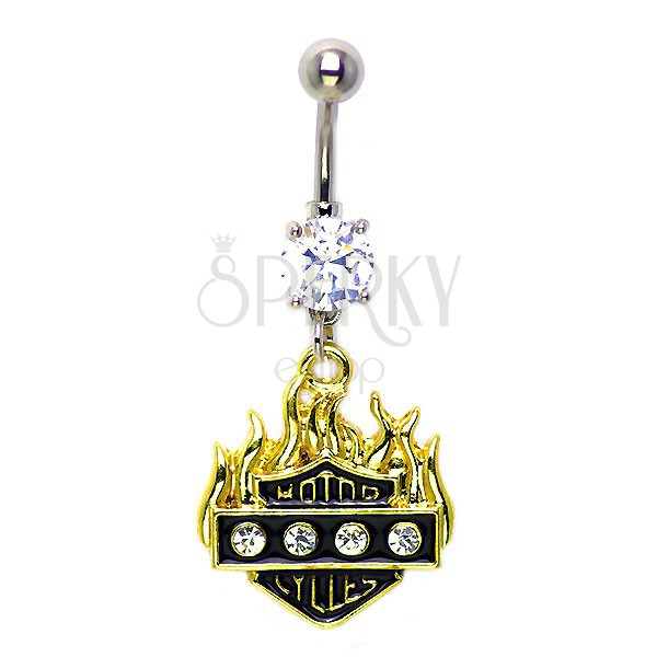 Flame belly ring with zircons