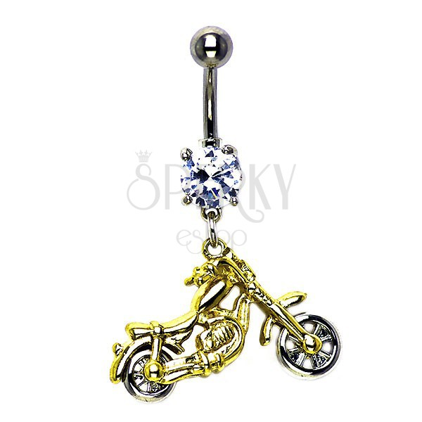 Motorbike belly ring in gold-silver colour
