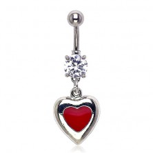 Navel ring - passionate heart with zircon