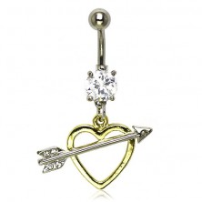 Belly button ring - love arrow of Amor with zircons
