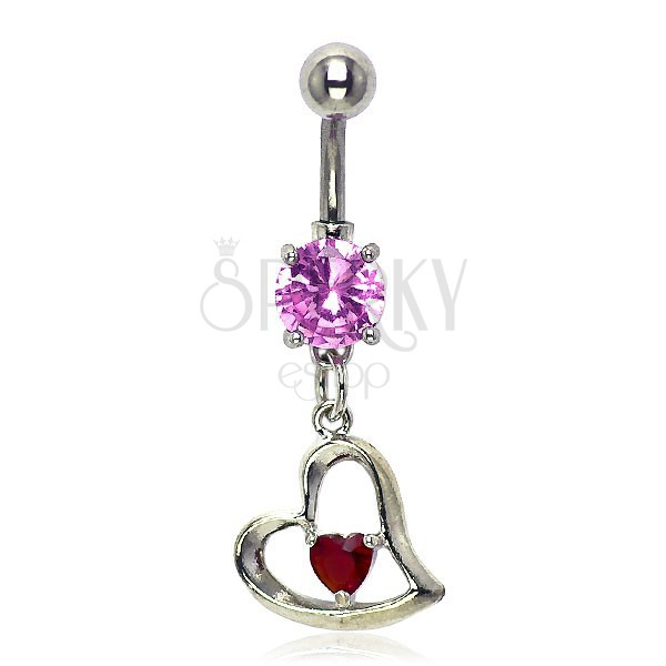 Slant heart navel ring, pink and red zircon