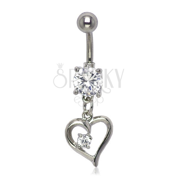 Belly button ring - small twisted heart