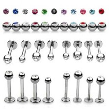 Labret piercing made of steel - ball finish with a glittery zircon