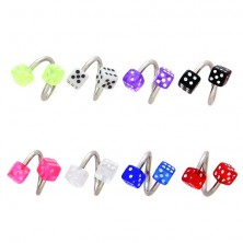 Eyebrow ring - spirals with dices