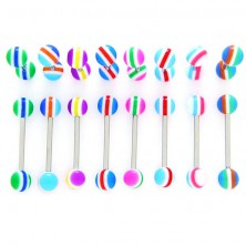 Tounge barbell - multi-coloured semi-circles and lines