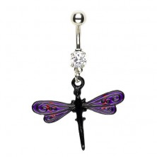 Navel ring - dragonfly with wings in purple and black colour