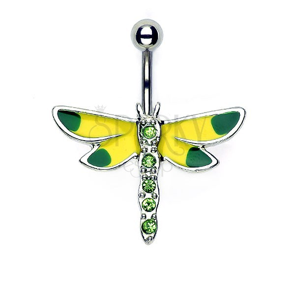 Yellow - green dragonfly belly button ring