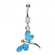 Dragonfly navel ring - blue wings