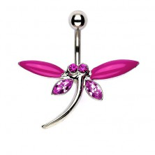 Navel ring - butterfly with matt and pink zirconic wings