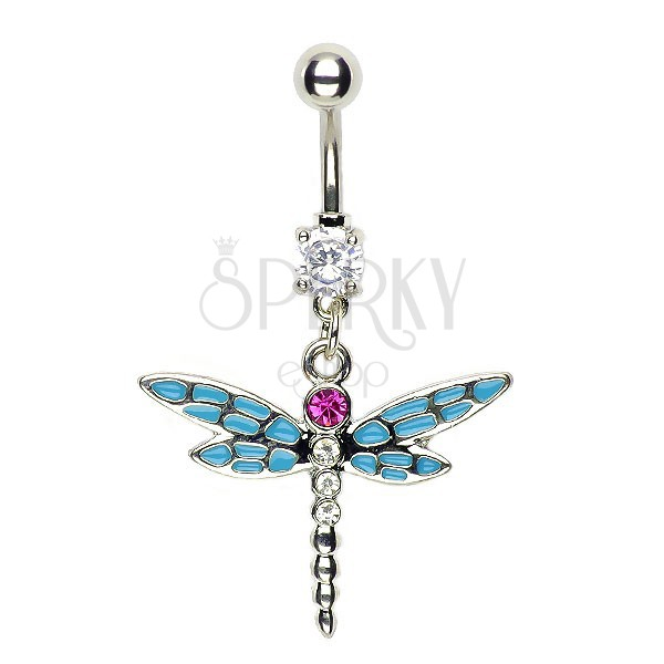 Dragonfly belly piercing - blue multiple wings and pink zircon