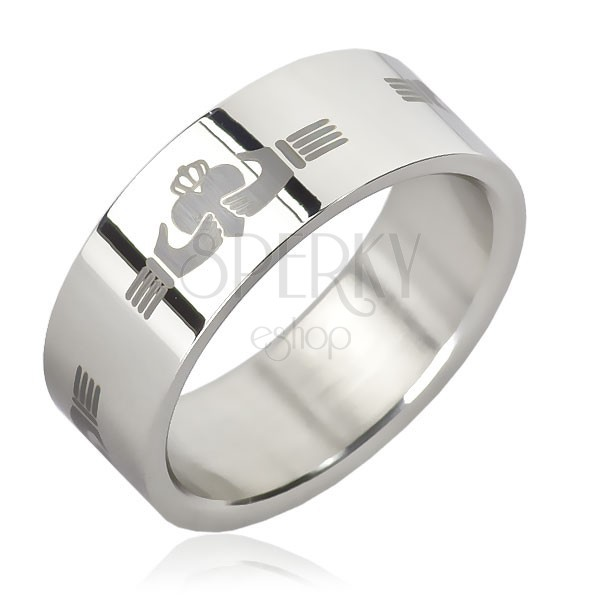 Stainless steel ring - repeated Claddagh ring design