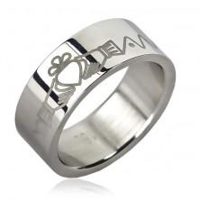 Steel ring - Irish ring design, chain, zig-zag