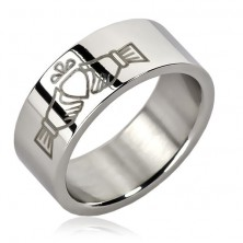 Stainless steel ring - hands holding heart