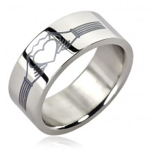 Stainless steel ring - heart with crown - Claddagh ring design