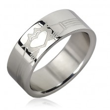 Stainless steel ring - lines, burning heart in hands