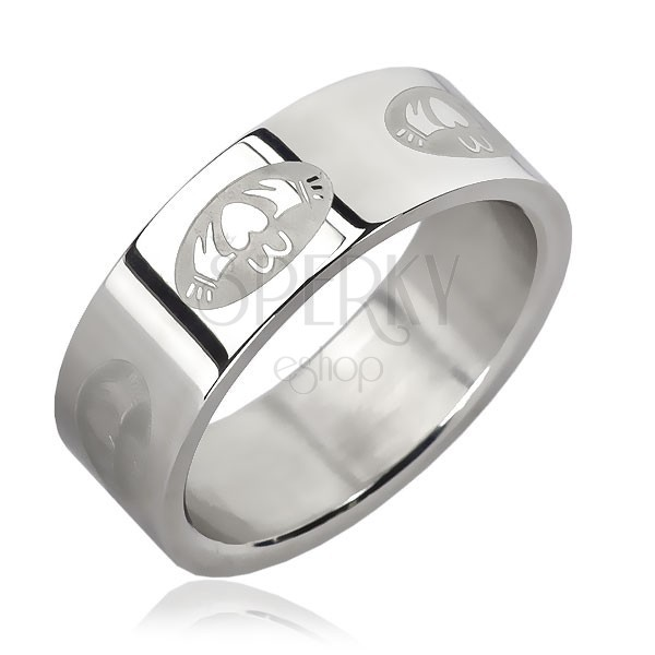Stainless steel ring - heart in oval